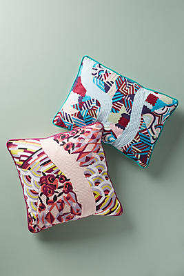 Slide View: 5: Parallel Embroidered Pillow