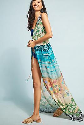 Slide View: 1: PatBO Saida Beaded Maxi Cover-Up Dress
