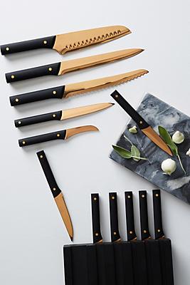 Slide View: 1: Bronzed 13-Piece Knife Block Set