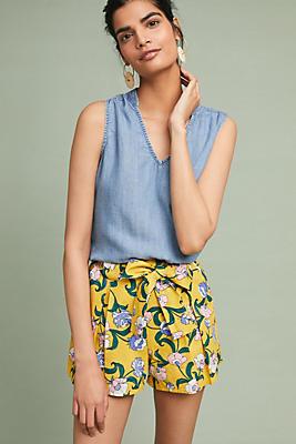 Slide View: 1: Marigold Floral Shorts