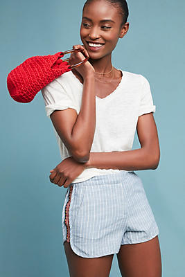 Slide View: 1: Embroidered Chambray Shorts