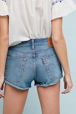 high rise shorts - Blue Levi's