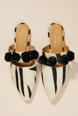 Anthropologie Animalia Pom Strapped Slides by Anthropologie