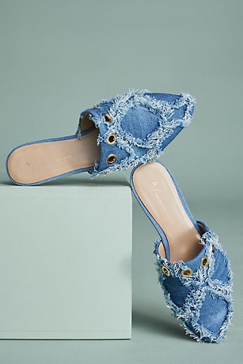 Anthropologie Frayed Denim Slides
