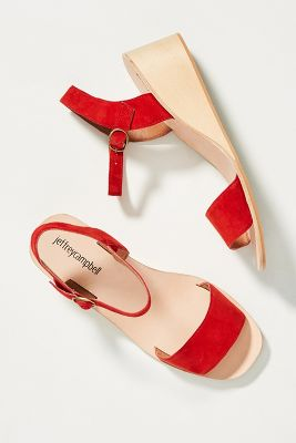 Jeffrey Campbell Brook Wooden Wedge Sandals by Jeffrey Campbell