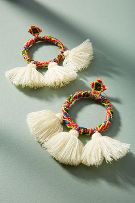 Mochi   Sandra Tasseled Drop Earrings  -    WHITE