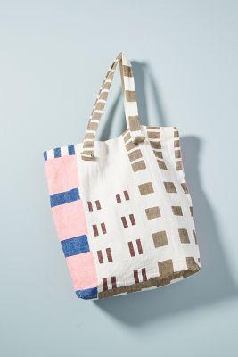 EPICE   Eliza Striped Tote Bag  -    NAVY