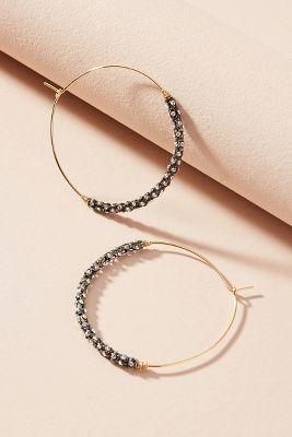 Eyre Beaded Hoop Earrings  -    GOLD