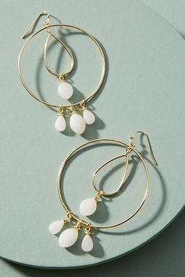 Tumbled Stone Double Hoop Earrings  -    WHITE
