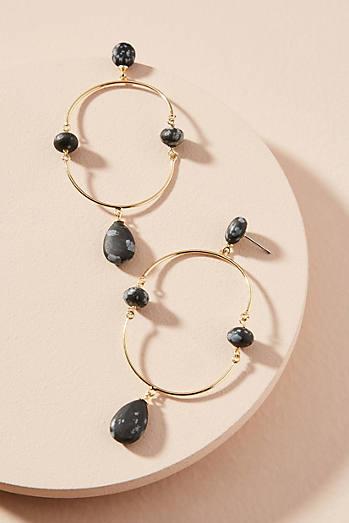 Anthropologie Tumbled Stone Hooped Drop Earrings ylOxSbqHl