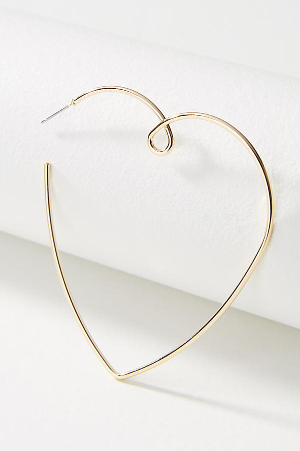 Slide View: 2: Loving Heart Hoop Earrings