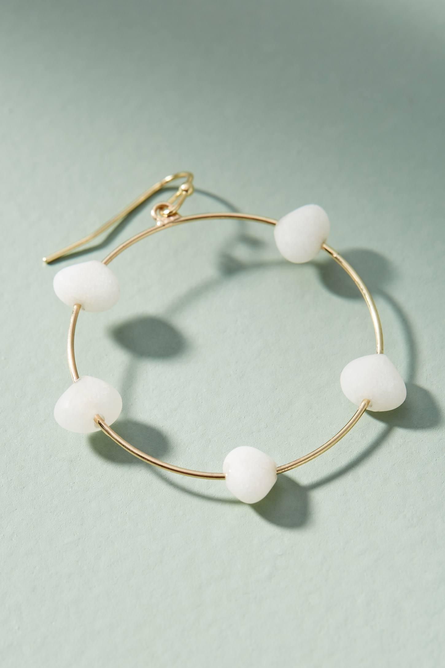 Anthropologie Maria Stone Hooped Drop Earrings II7nsC0