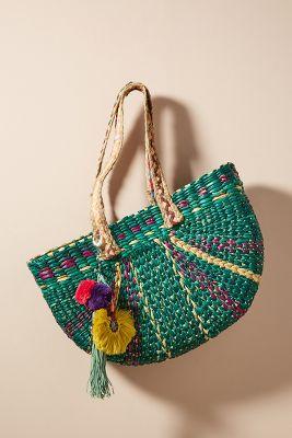 Braided Straw Tote Bag  -    GREEN