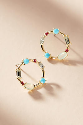 Anthropologie Cerise Petite Hooped Post Earrings CreAnU9