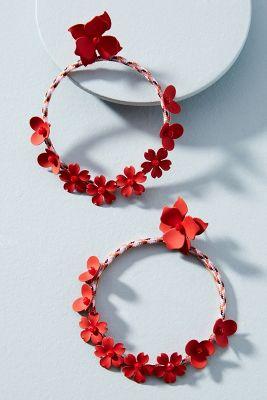 Maypole Hooped Post Earrings  -    RED