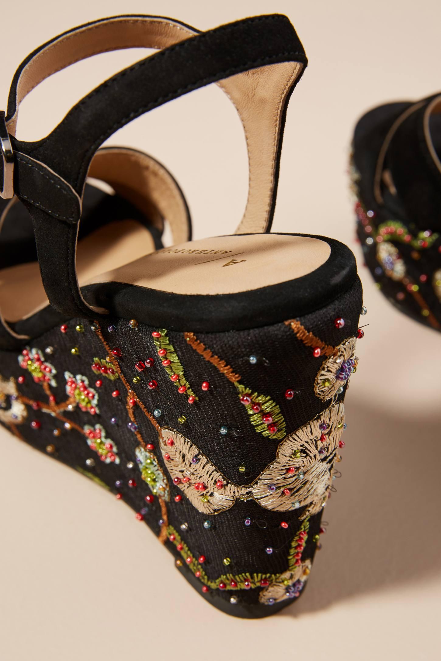 Saint G Embellished Wedge Sandals