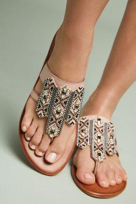 Anthropologie   Anthropologie Embellished Thong Sandals  -    ROSE