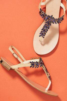 Raphaella Booz Jeweled Leaf Sandals by Raphaella Booz