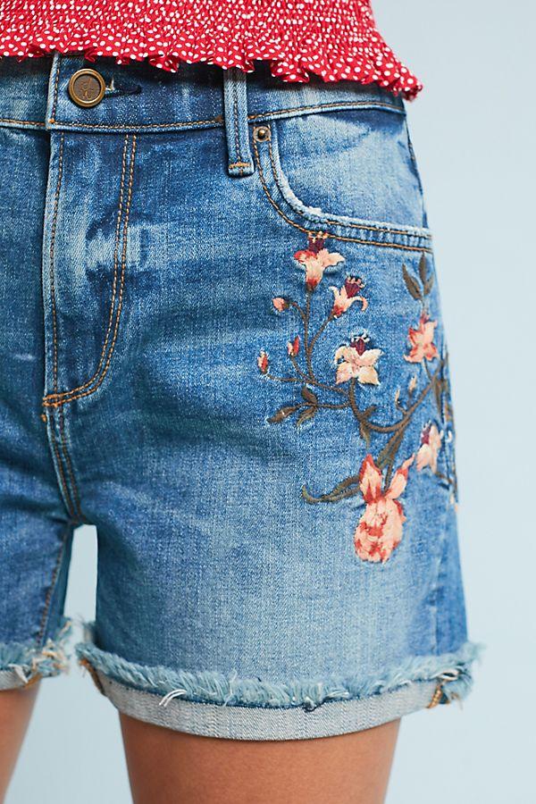 Driftwood Lulu High-Rise Embroidered Denim Shorts  db62b3c7fd9a