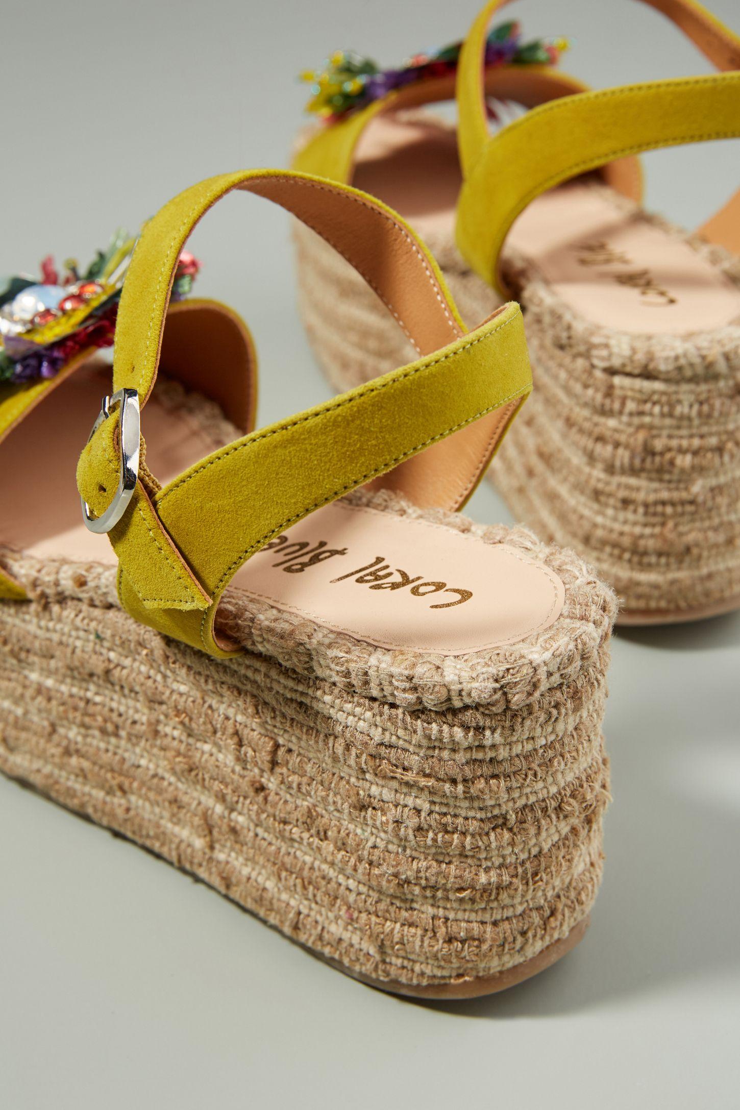 Coral Blue Embellished Platform Wedge Sandals shipping discount authentic explore cheap online 2014 sale online 7zDNs4DGk