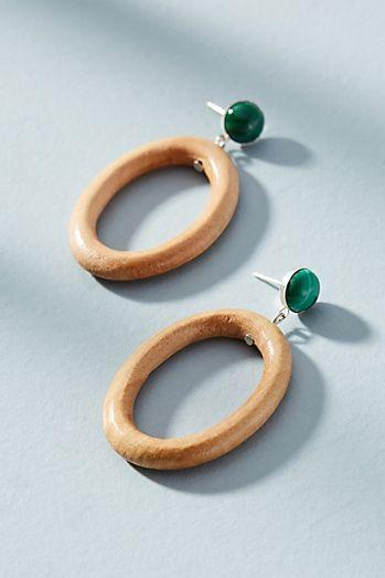 Malachite Hoop Drop Earrings
