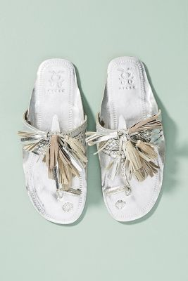 Figue x Anthropologie   Figue x Anthropologie Scaramouche Slide Sandals  -    SILVER