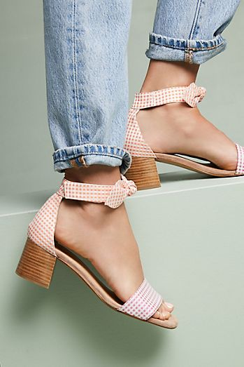 Anthropologie Gingham Heeled Sandals