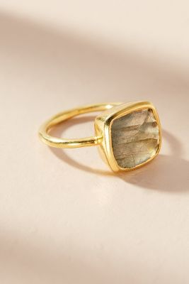 Jemma Sands   Encircled Gemstone Ring  -    Green/Labradorite