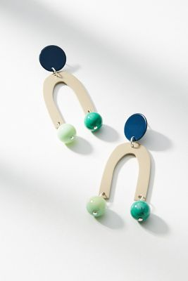 Bianca Mavrick   Pendulum Drop Earrings  -    NAVY