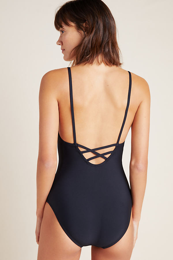 Allihop Square-Neck One-Piece Swimsuit - Black, Size Xl