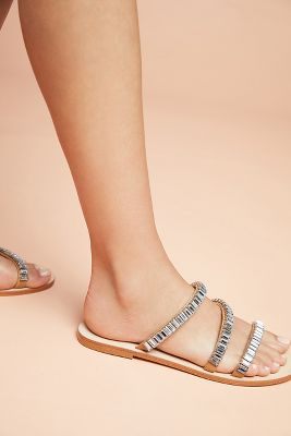 Anthropologie Sparkling Slide Sandals by Anthropologie