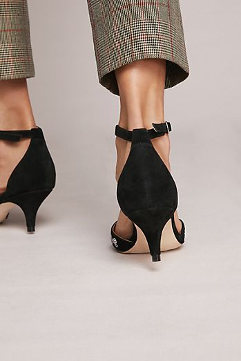 Anthropologie Embroidered Bow Kitten Heels