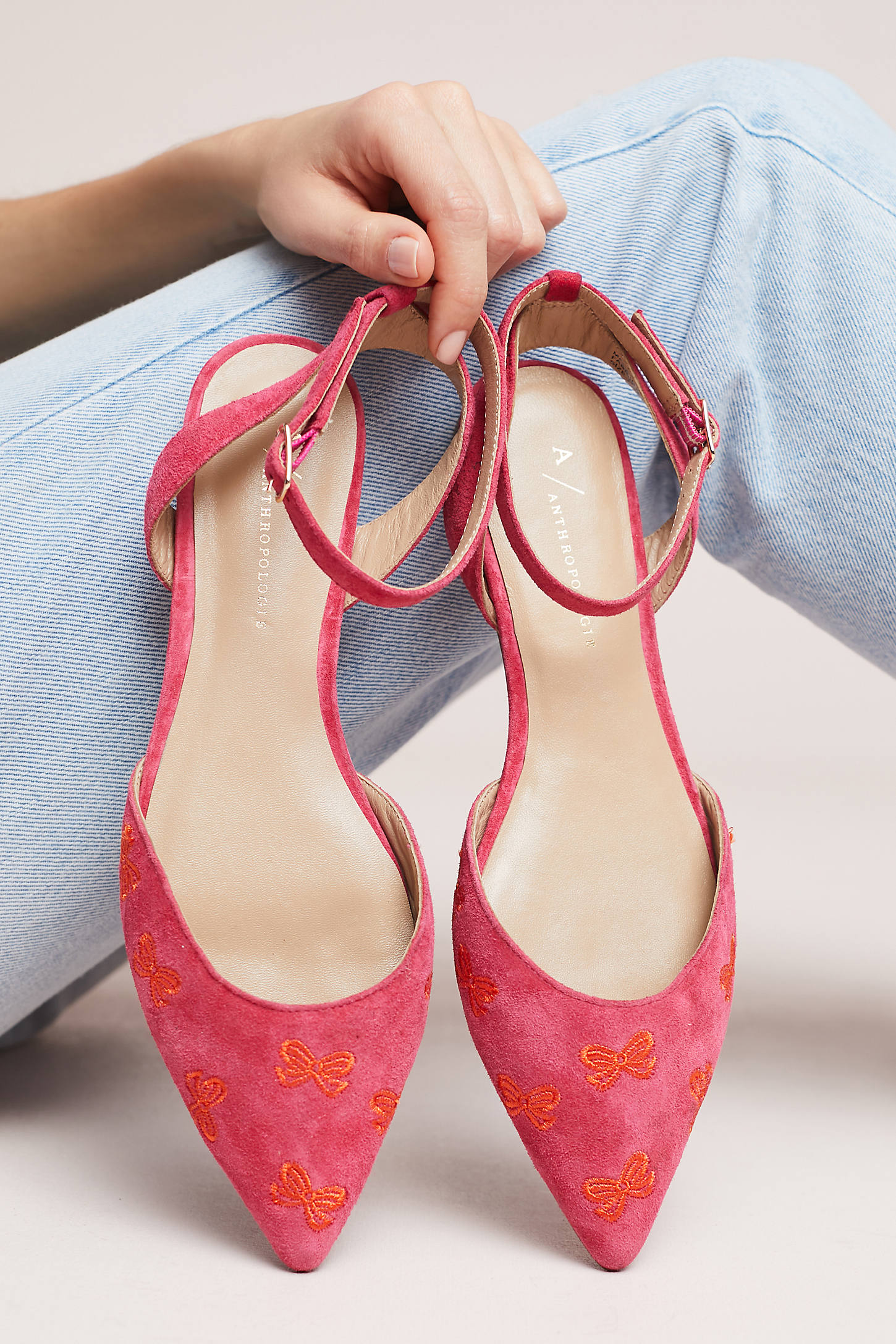 Anthropologie Embroidered Bow Ballet Flats