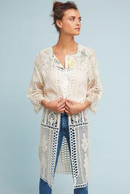 Ama Crocheted Kimono  -    WHITE