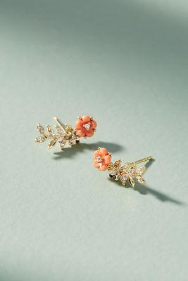 Beatrix Floral Climber Earrings  -    PEACH