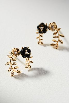 Flora Hooped Post Earrings by Anthropologie