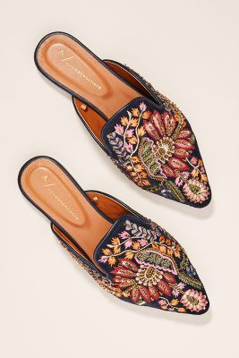 Anthropologie   Anthropologie Embroidered Springtime Slides  -    BLACK MOTIF