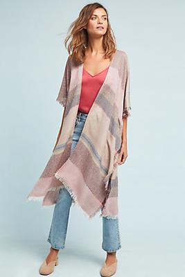 Slide View: 1: Cozy Striped Kimono