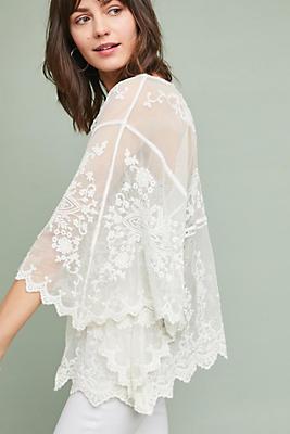 Slide View: 2: Aubrey Sheer Lace Kimono