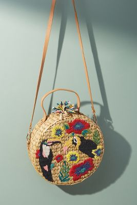 Toucan Embroidered Straw Crossbody by Anthropologie