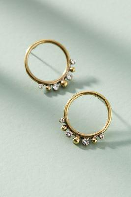 Globetrotter Hooped Post Earrings  -    GOLD