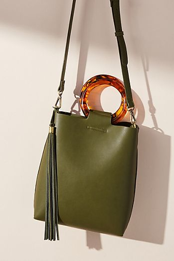 Lucite-Handled Tote Bag