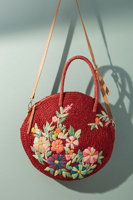 Garden Raffia Crossbody Bag  -    RED