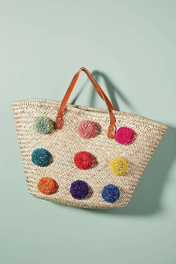 Pom Straw Tote Bag