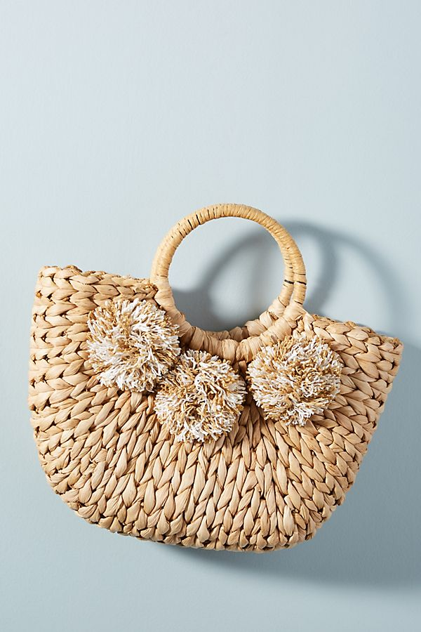 Slide View: 1: Perfectly Pommed Mini Straw Tote Bag