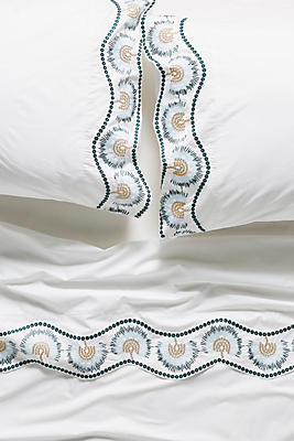 Slide View: 1: Embroidered Cypress Sheet Set