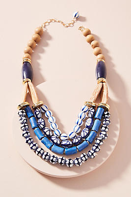 Anthropologie Painted Beads Bib Necklace 0TIfEU6t