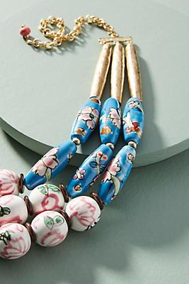 Anthropologie Painted Beads Bib Necklace gXfLQndpsa