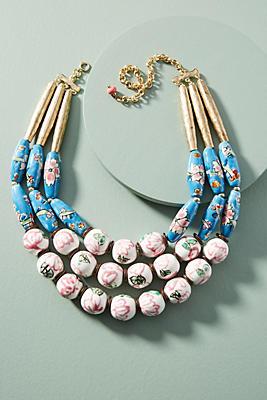 Anthropologie Painted Beads Bib Necklace 38QVMcvKaA