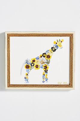 Slide View: 1: Pressed Flower Giraffe Wall Art
